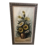 Image of Mid Century Oil Painting Signed Lalorra For Sale