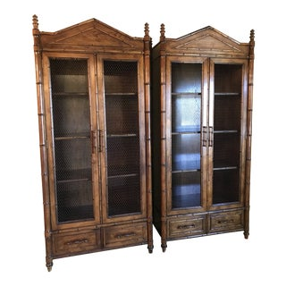 Late 20th Century Vintage Century Faux Bamboo Cabinet's-A Pair For Sale