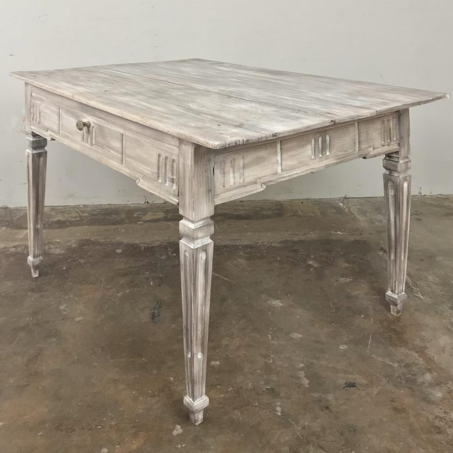 French 19th Century Country French Louis XVI Whitewashed End Table - Writing Table For Sale - Image 3 of 13