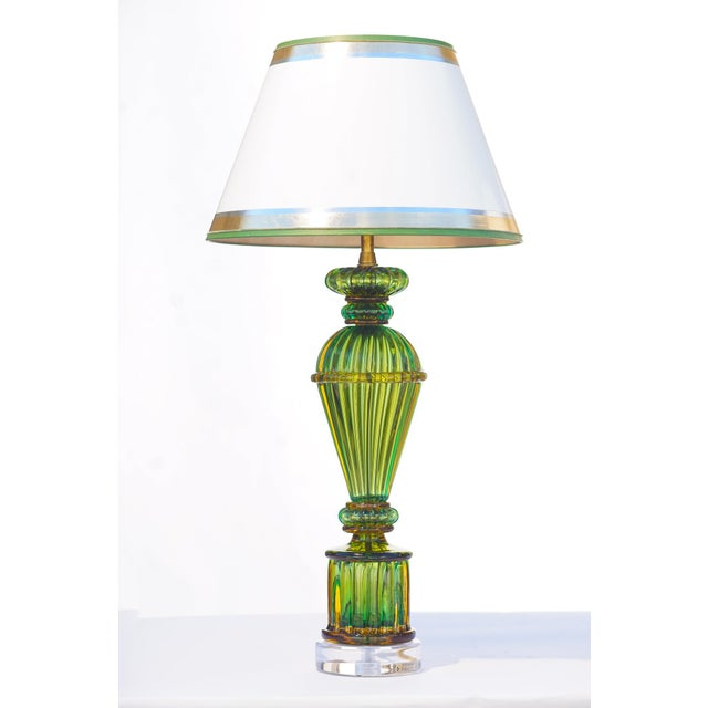 Mid 20th Century Vintage Murano Glass Lamps - a Pair For Sale - Image 5 of 8