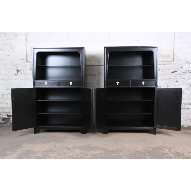 Michael Taylor for Baker Far East Collection Ebonized Chinoiserie Wall Units, Pair For Sale - Image 9 of 13