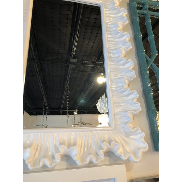 Glass Vintage Hollywood Regency Lacquered White Ruffle Scalloped Wall Mirror For Sale - Image 7 of 12
