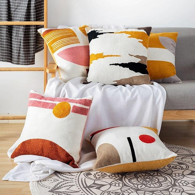 Abstract Crewel Embroidery Abstract Cushions & Throw Pillow Covers - # 04 For Sale - Image 3 of 5