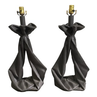 John Dickinson Style Plaster Draped Lamps - A Pair