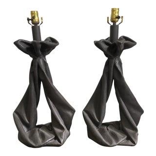 John Dickinson Style Plaster Draped Lamps - A Pair