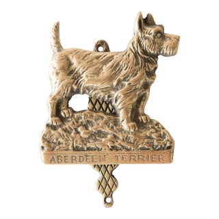 English Brass Aberdeen Terrier Dog Door Knocker For Sale