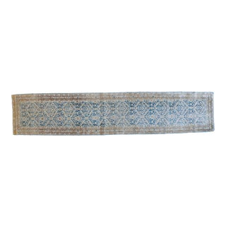 Antique Persian Tabriz Narrow Runner Rug Soft Blue Neutral Rug For Sale