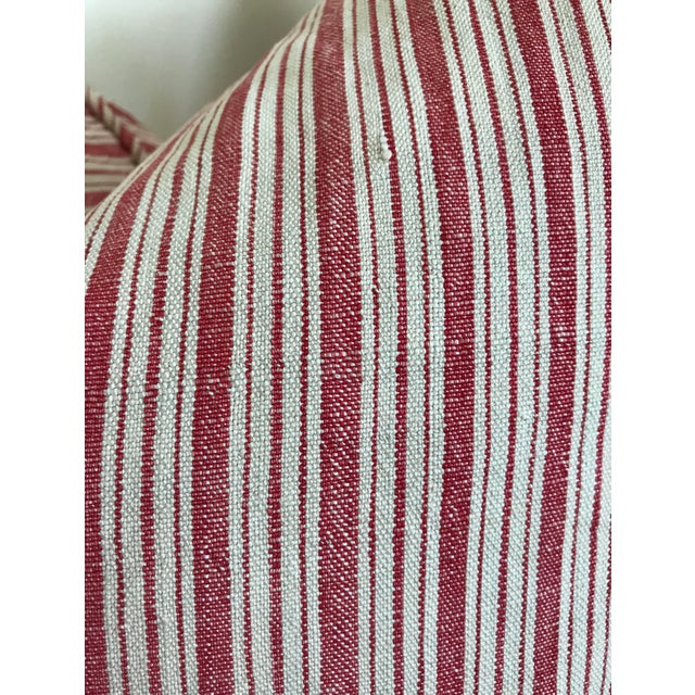 Vintage French Ticking Stripe Pillow Covers in Red - a Pair For Sale In Los Angeles - Image 6 of 8