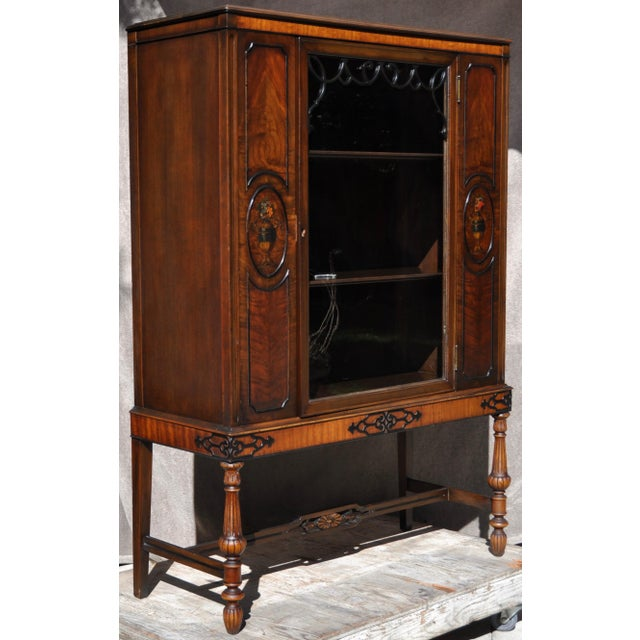 Berkey & Gay Hand Painted Victorian Mahogany China Display Cabinet For Sale - Image 12 of 13