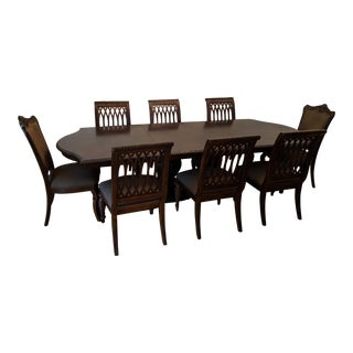 Bernhardt Double Pedestal Dining Table & 10 Chairs For Sale