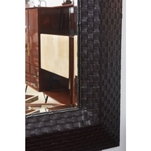 1960s Italian Modern Woven Leather Mirror For Sale - Image 5 of 8