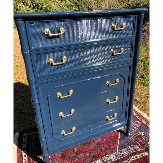 Hollywood Regency 1970s Lacquered Faux Bamboo Broyhill Dresser For Sale - Image 3 of 13