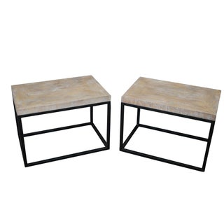 Jonathan Charles Cerused Oak Side Tables - A Pair