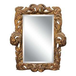 William Switzer - Dramatic Baroque Hand Carved Designer Gilt-Wood Mirror For Sale