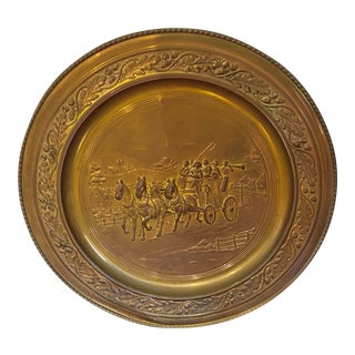 Vintage Hammered Brass Wall Plate Plaque of England Horses and Carriage For Sale