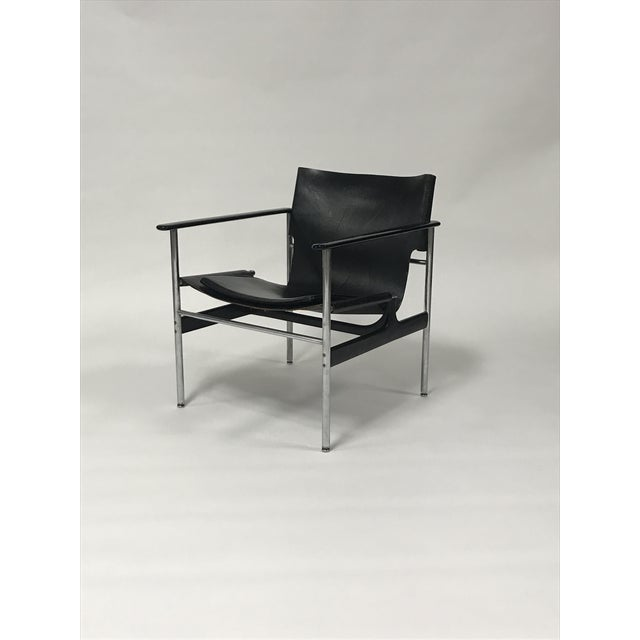 Pair of black leather Charles Pollock sling lounge chairs, called the 657 chair, for Knoll International, circa 1960s....