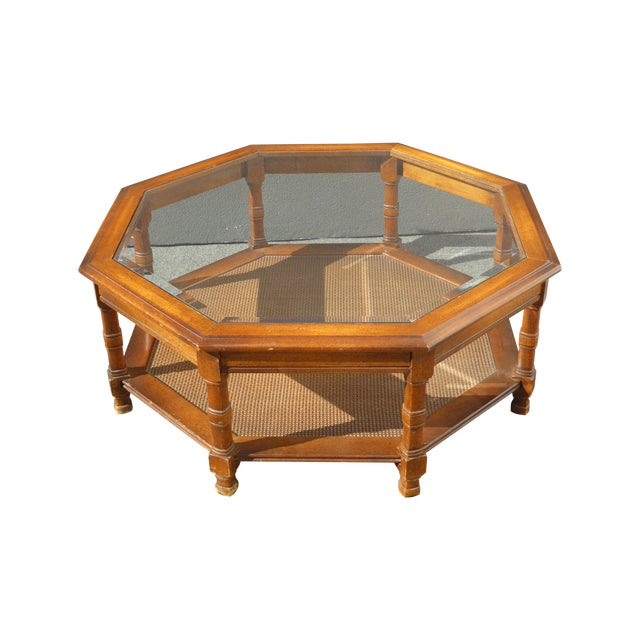 Mid Century Octagon Beveled Glass Top Coffee Table - Image 1 of 9