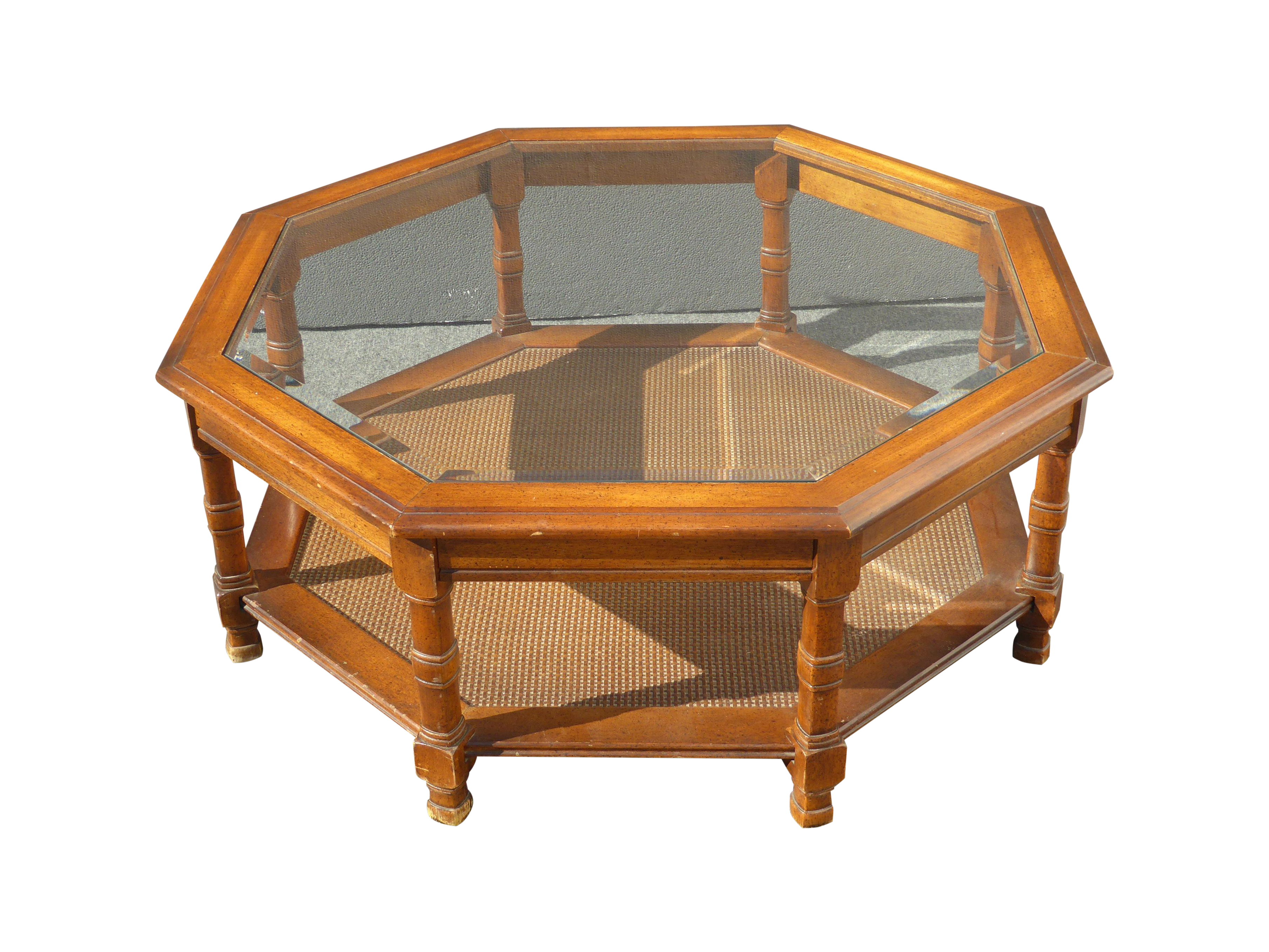 Merveilleux Mid Century Octagon Beveled Glass Top Coffee Table