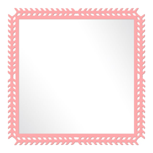 Fleur Home x Chairish Toulouse Trellis Mirror in Pink Punch, 24x24 For Sale