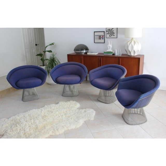 Warren Platner for Knoll Blue Upholstered Platner Lounge Chairs- a Pair For Sale In Tampa - Image 6 of 10