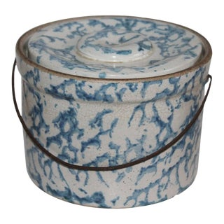 19th Century Spongeware Salt Crock With Bail Handle For Sale