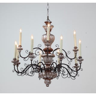 Italian 1940s Painted Carved Wood and Iron Chandelier Preview