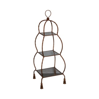 Hollywood Regency Italian Gilt Metal Rope & Tassel Etagere For Sale