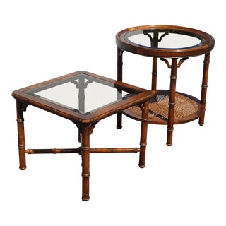 Vintage Chinese Chippendale Oak Wood Faux Bamboo End Tables ~ Round & Square W Glass Tops For Sale