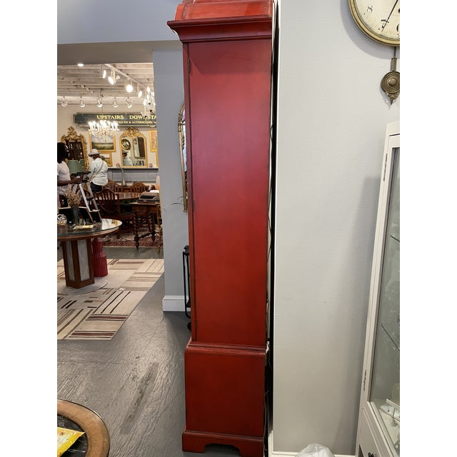 Wood Vintage Asian Style Red Curio Cabinet For Sale - Image 7 of 9