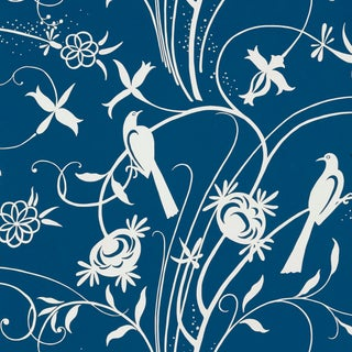 Schumacher Sky Meadow Wallpaper in Blue For Sale
