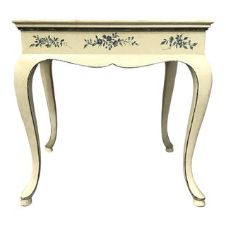 Floral Painted Wooden Table For Sale