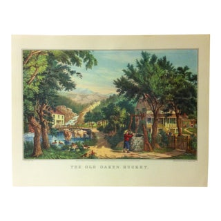 "Currier & Ives American Print, ""The Old Oaken Bucket"" by Crown Publishers, Circa 1950 For Sale"