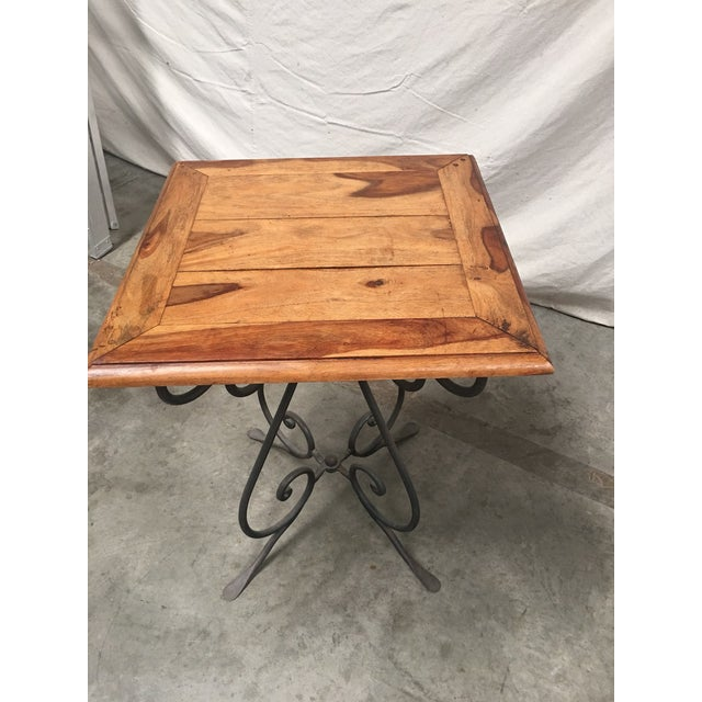 Rustic French Bistro Walnut SideTables With Iron Bases - a Pair For Sale - Image 9 of 12