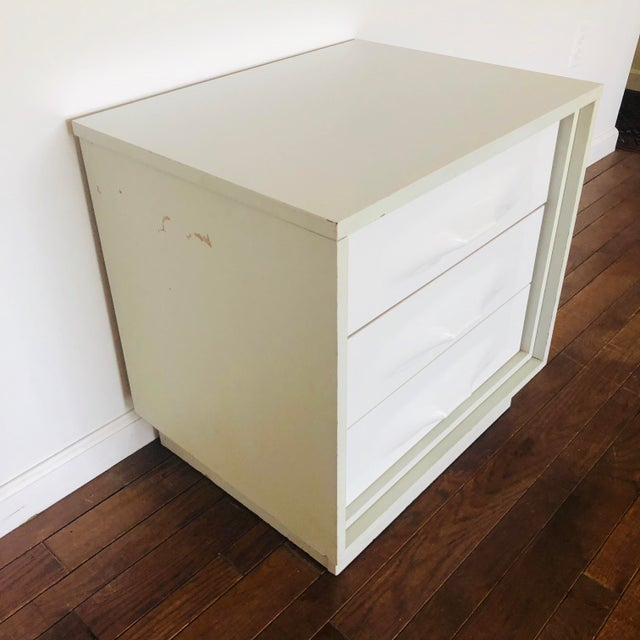 Raymond Loewy 1970s Treco Space Age White 2 Drawer Nightstand For Sale - Image 4 of 5