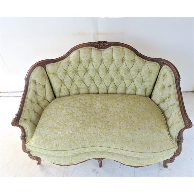 French Louis XV Style Light Green Tufted Settee For Sale - Image 3 of 8
