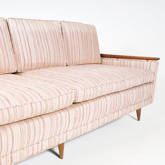 1950s Mid-Century Modern Sofa With Walnut Trim For Sale - Image 4 of 7