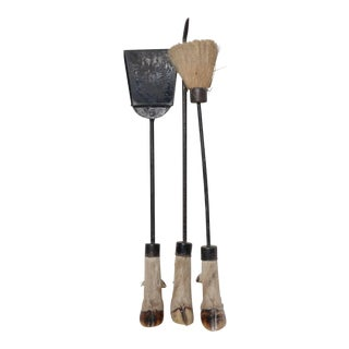 19th C. Antique Fire Tool Set with Deer Hooves