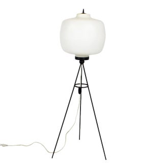 1960s Tripo Standing Lamp, Blackened Steel, White Opaline - Italy For Sale