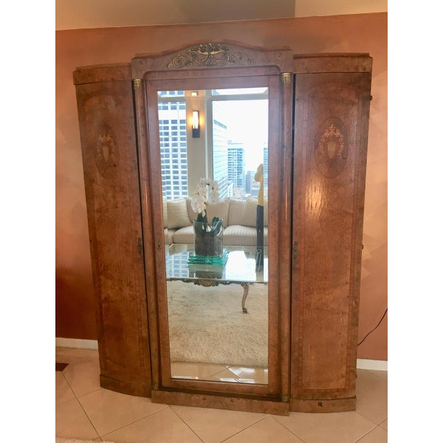 Antique French Burlwood Armoire With Mirror - Image 8 of 10