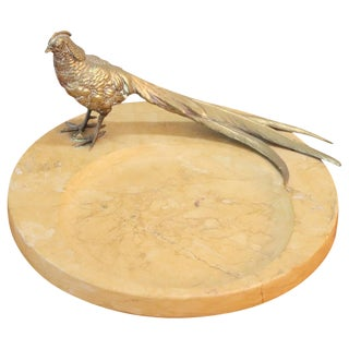 20th Century Italian Artistic Marble Plate With Gilded Bronze Bird Sculpture For Sale