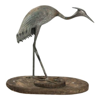 Early 19th Century Antique Bronze Crane Ornament For Sale