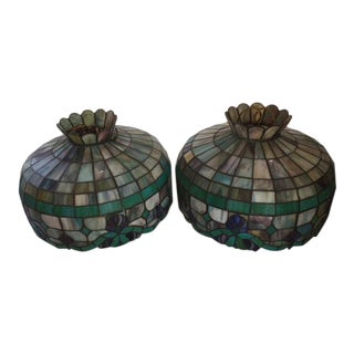 Green & Purple Stained Glass Lamp Shades - a Pair