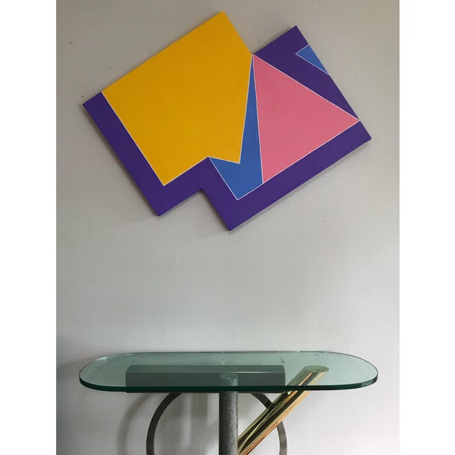 Abstract Colorful Original Post Modern Shaped Canvas Large Scale Hard Edge Abstract Painting For Sale - Image 3 of 9