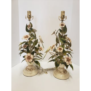 1950s Bird and Flower Tole Lamps With Shades - a Pair Preview