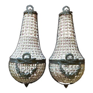 French Style Reproduction Beaded Crystal Basket Sconces - a Pair