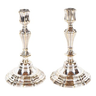 Elegant Pair of French Silvered Bronze George III Candlesticks