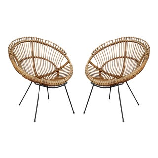 A Pair of Bamboo Italian Armchairs, Italy 60' For Sale