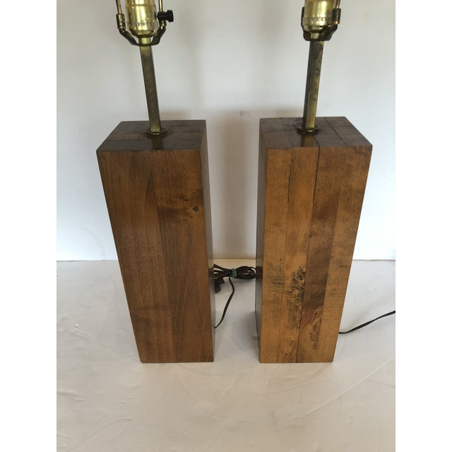 Metal Walnut Block Form Mid-Century Modern Table Lamps -A Pair For Sale - Image 7 of 11
