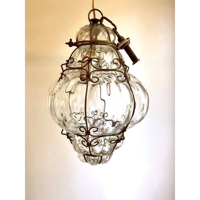 Caged Clear Murano Glass Lantern Pendant For Sale In Raleigh - Image 6 of 6