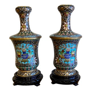 19th Century Chinese Cloisonné Vases-a Pair For Sale